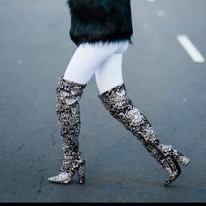 Shoes - Over the knee sequin  silver black boots